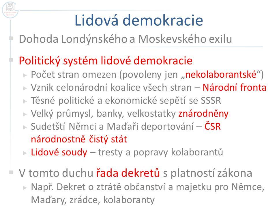 Lidová demokracie Dohoda Londýnského a Moskevského exilu