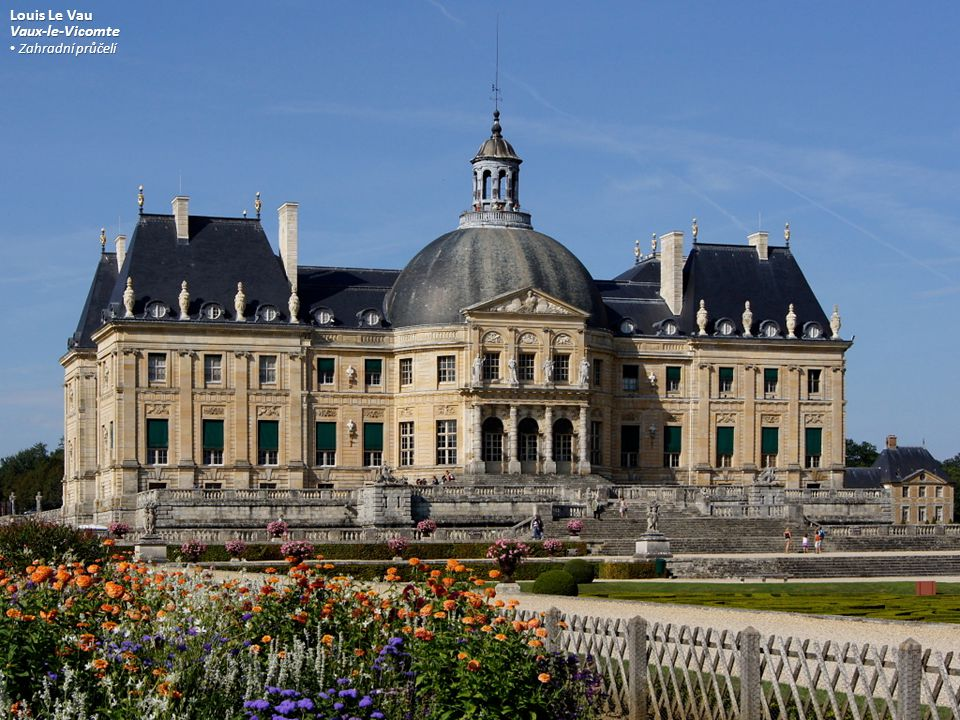Louis Le Vau Vaux-le-Vicomte Zahradní průčelí