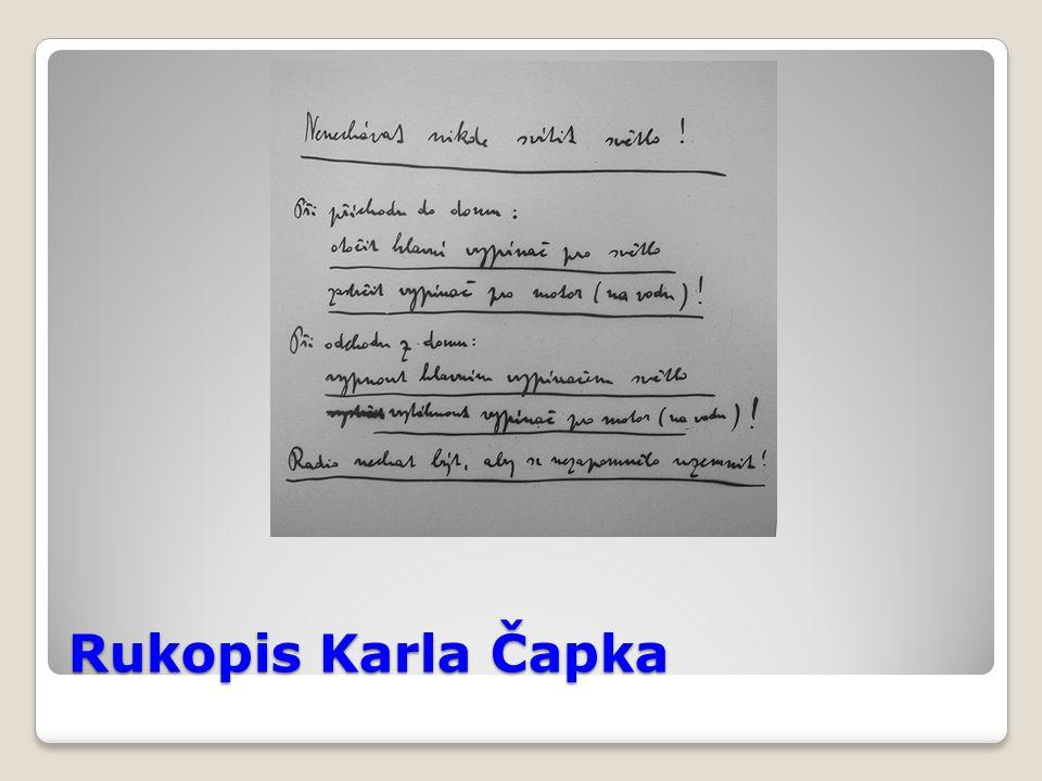 Rukopis Karla Čapka