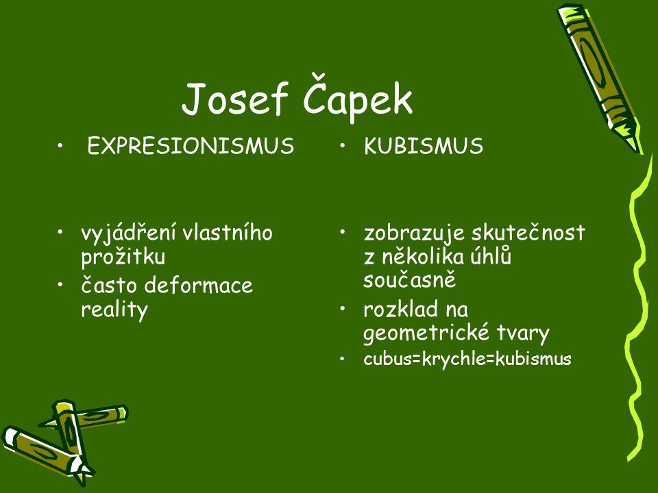 Josef Čapek EXPRESIONISMUS vyjádření vlastního prožitku