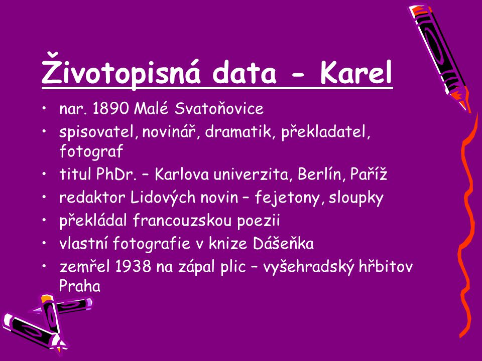 Životopisná data - Karel