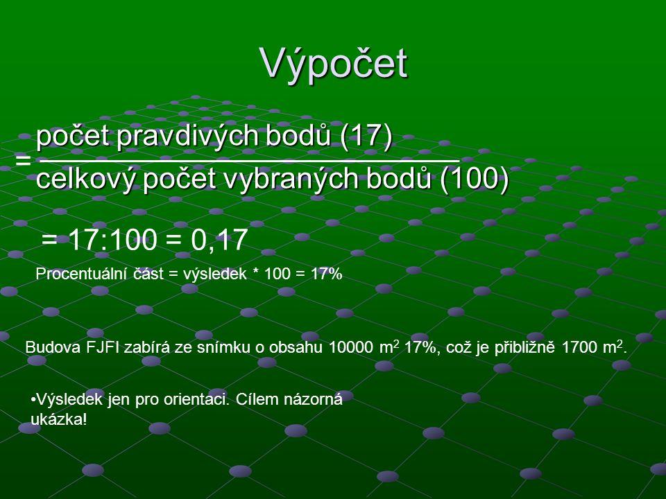 Výpočet počet pravdivých bodů (17) celkový počet vybraných bodů (100)