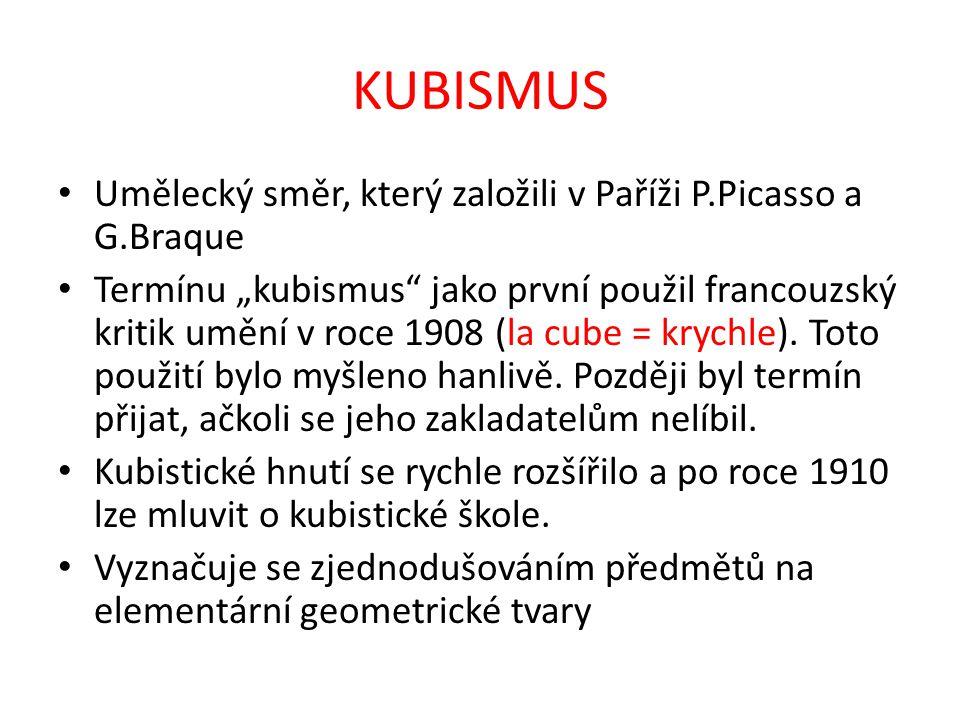 KUBISMUS Umělecký směr, který založili v Paříži P.Picasso a G.Braque