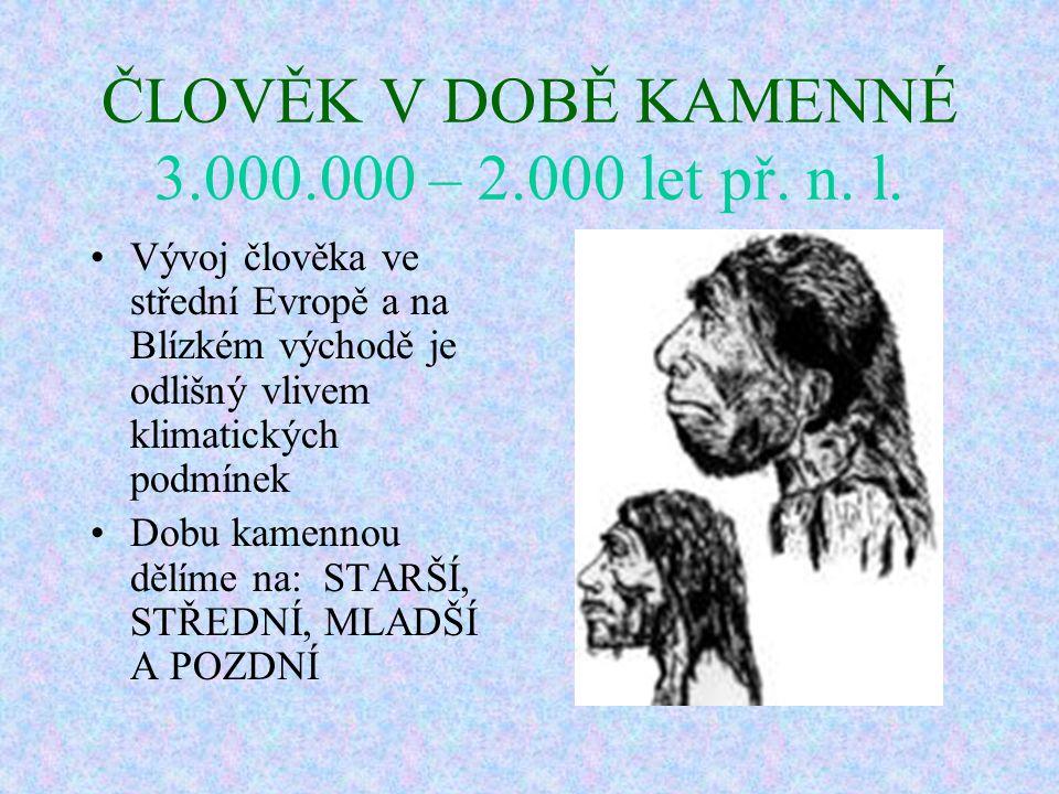 ČLOVĚK V DOBĚ KAMENNÉ 3.000.000 – 2.000 let př. n. l.