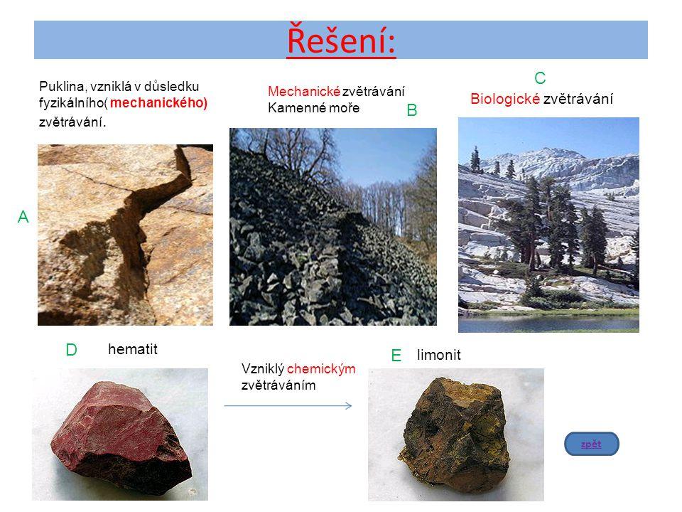 Řešení: C B A D E Biologické zvětrávání hematit limonit