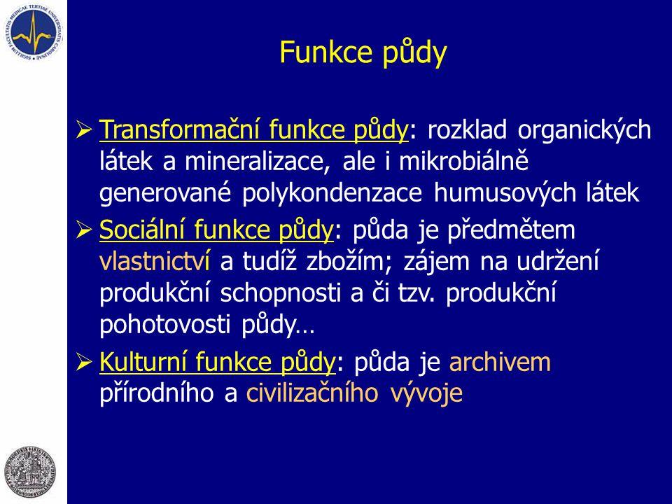 Funkce půdy Transformační funkce půdy: rozklad organických látek a mineralizace, ale i mikrobiálně generované polykondenzace humusových látek.