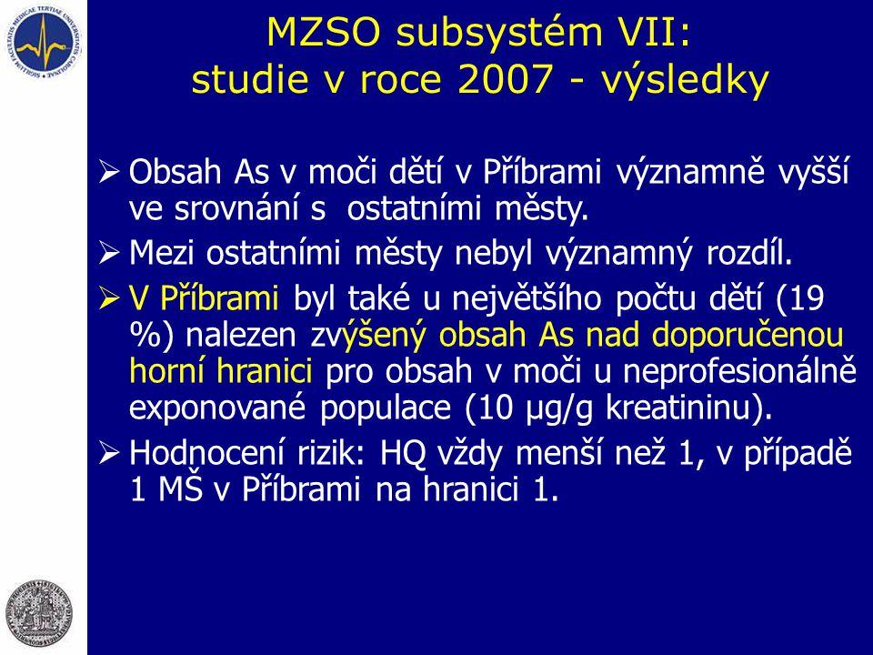 MZSO subsystém VII: studie v roce 2007 - výsledky