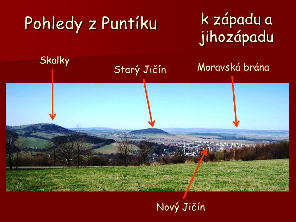 Pohledy z Puntíku k západu a jihozápadu Skalky Moravská brána