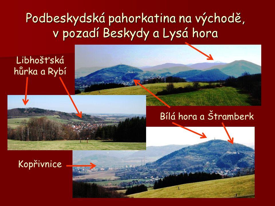 Podbeskydská pahorkatina na východě, v pozadí Beskydy a Lysá hora