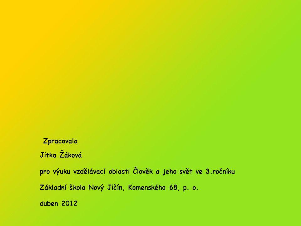 Zpracovala Jitka Žáková. pro výuku vzdělávací oblasti Člověk a jeho svět ve 3.ročníku. Základní škola Nový Jičín, Komenského 68, p. o.