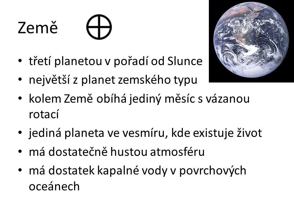 Země třetí planetou v pořadí od Slunce největší z planet zemského typu