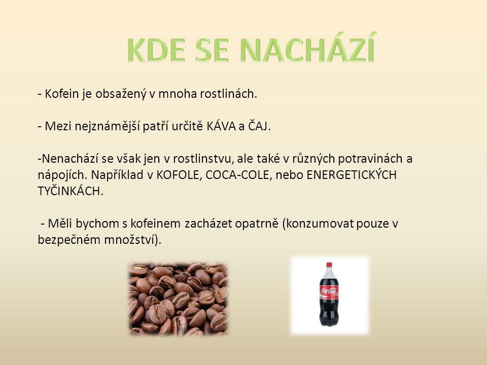 KDE SE NACHÁZÍ Kofein je obsažený v mnoha rostlinách.