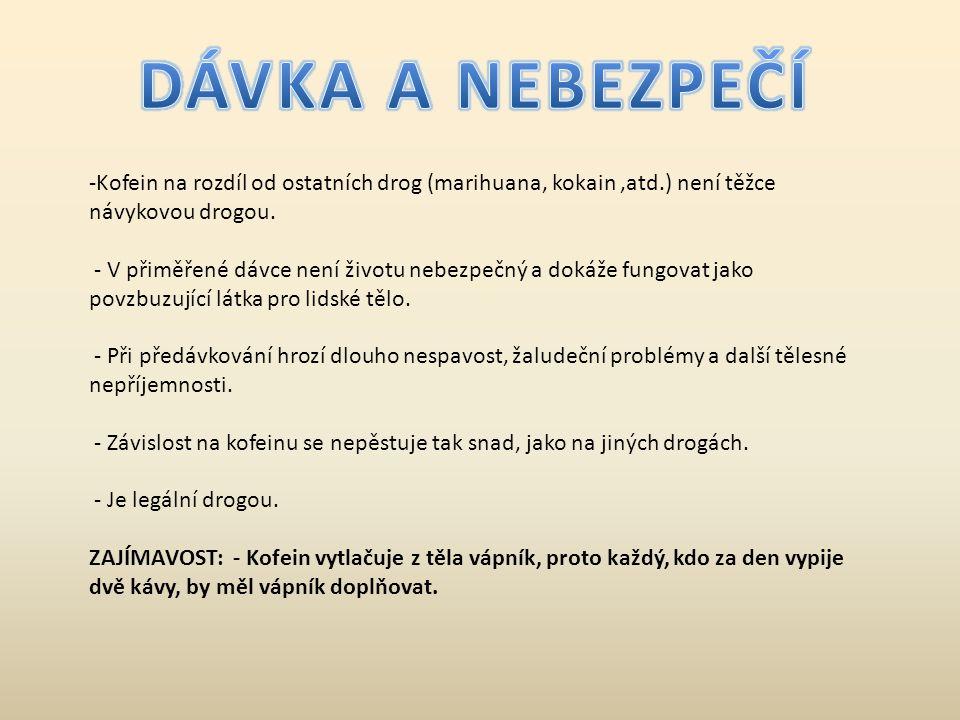DÁVKA A NEBEZPEČÍ Kofein na rozdíl od ostatních drog (marihuana, kokain ,atd.) není těžce návykovou drogou.