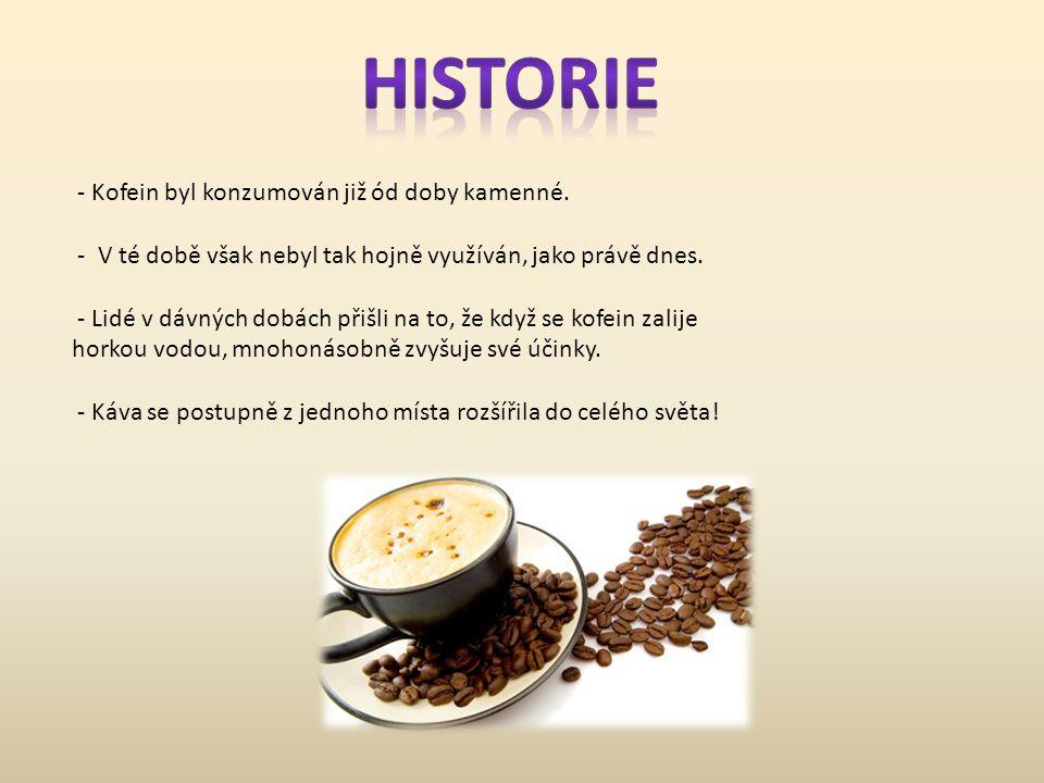 HISTORIE - Kofein byl konzumován již ód doby kamenné.