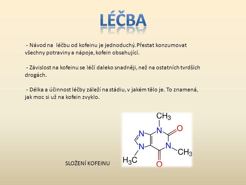 LÉČBA - Návod na léčbu od kofeinu je jednoduchý. Přestat konzumovat všechny potraviny a nápoje, kofein obsahující.