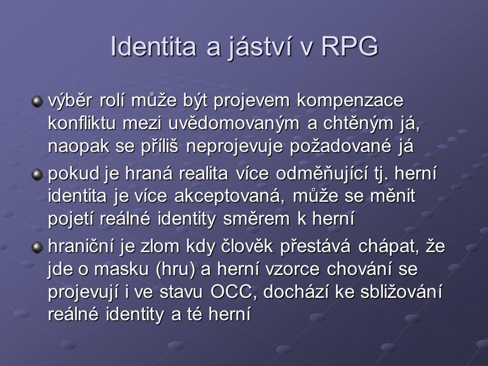 Identita a jáství v RPG výběr rolí může být projevem kompenzace konfliktu mezi uvědomovaným a chtěným já, naopak se příliš neprojevuje požadované já.