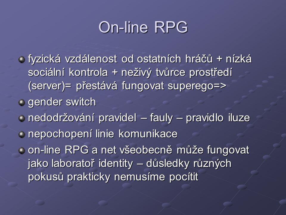On-line RPG fyzická vzdálenost od ostatních hráčů + nízká sociální kontrola + neživý tvůrce prostředí (server)= přestává fungovat superego=>