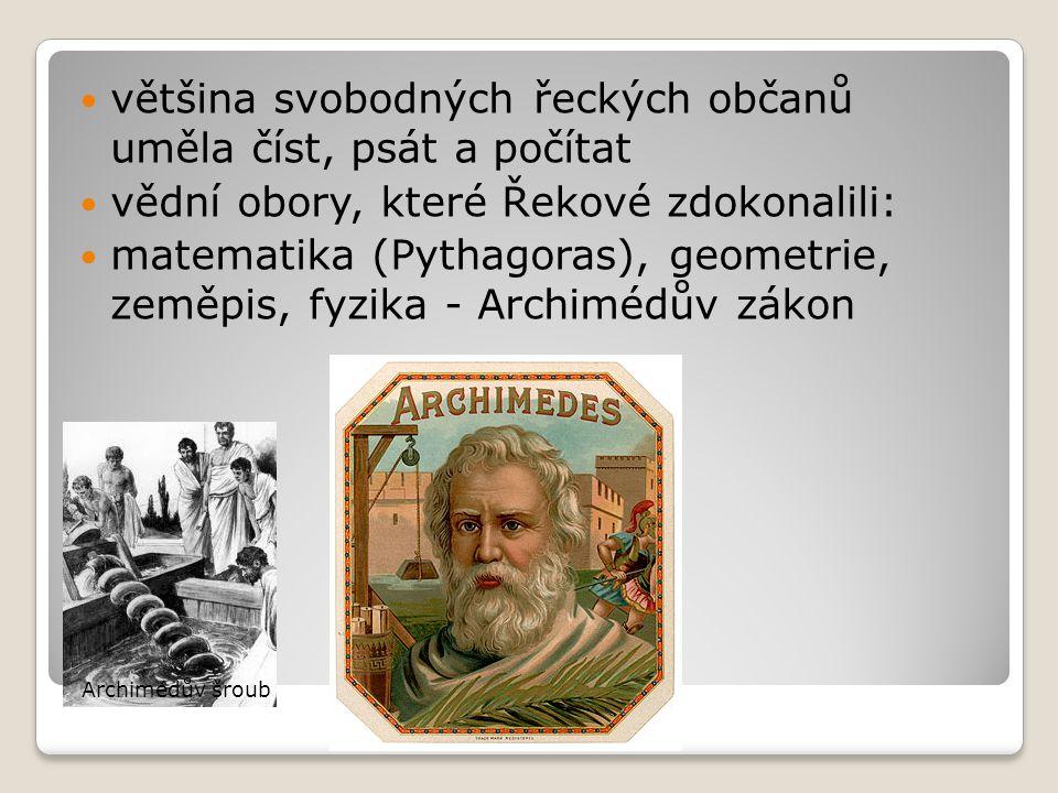 většina svobodných řeckých občanů uměla číst, psát a počítat