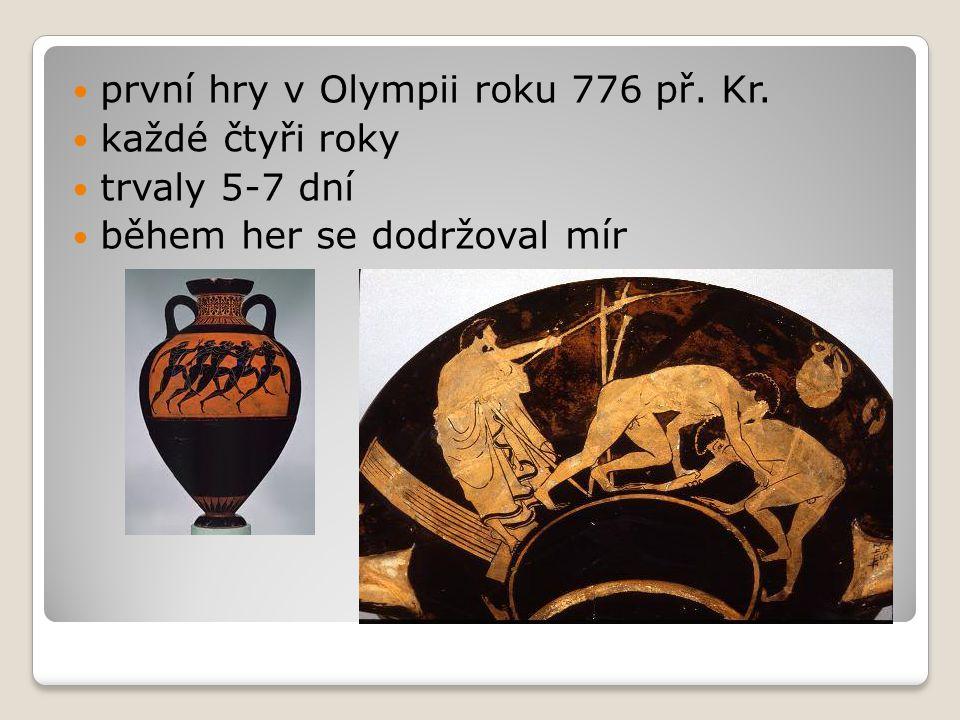 první hry v Olympii roku 776 př. Kr.