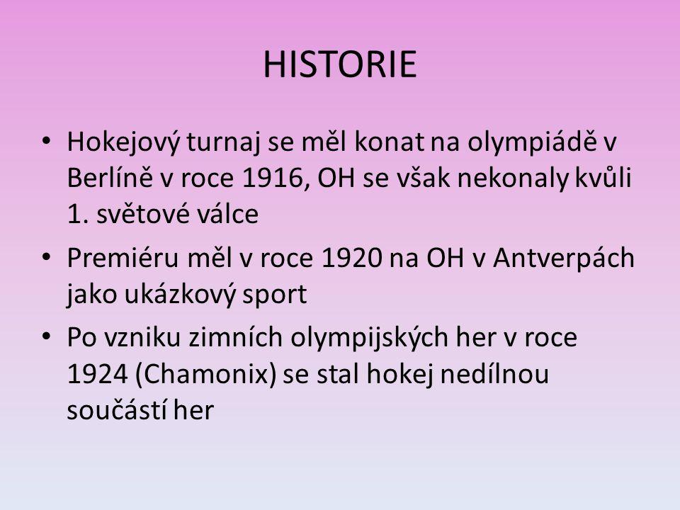 HISTORIE Hokejový turnaj se měl konat na olympiádě v Berlíně v roce 1916, OH se však nekonaly kvůli 1. světové válce.