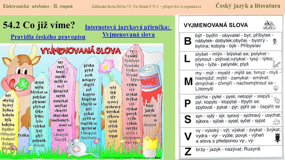 54.2 Co již víme Internetová jazyková příručka: Vyjmenovaná slova