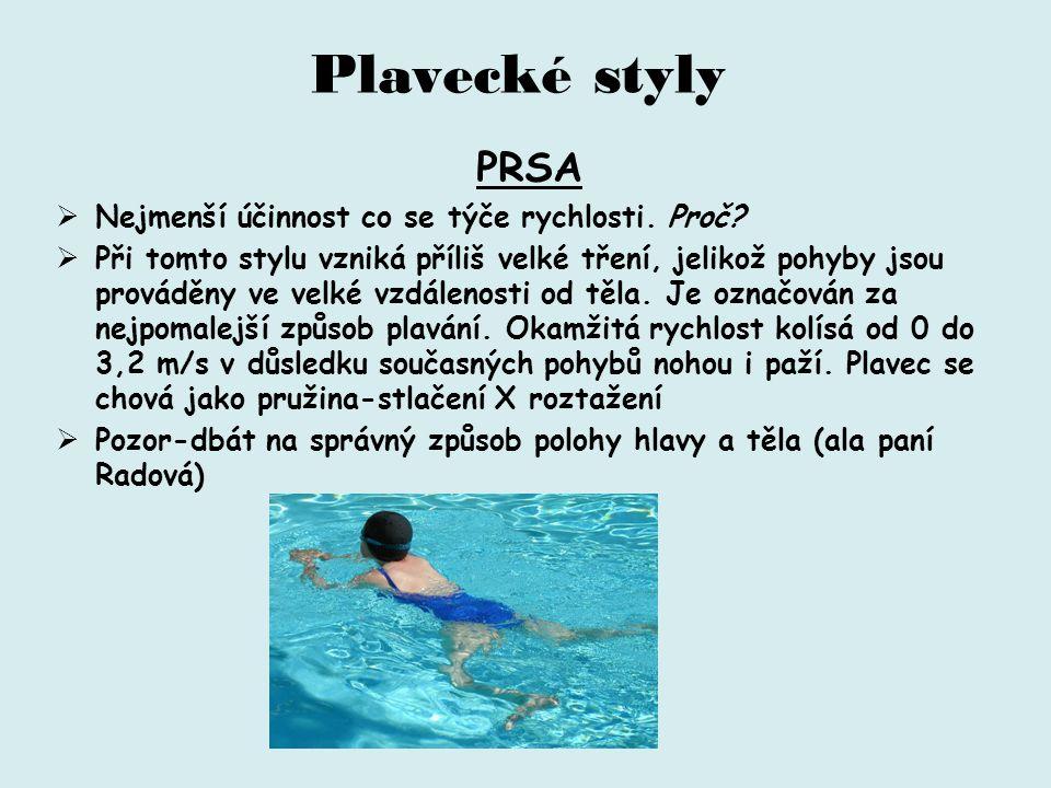 Plavecké styly PRSA Nejmenší účinnost co se týče rychlosti. Proč