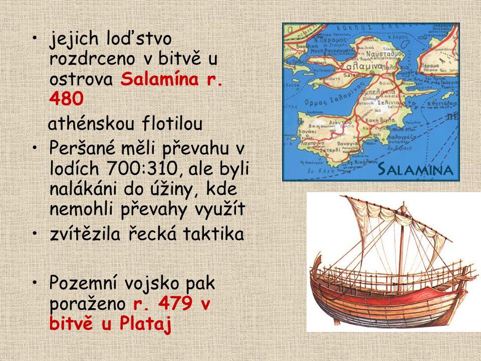 jejich loďstvo rozdrceno v bitvě u ostrova Salamína r. 480
