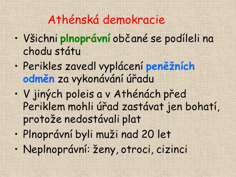 Athénská demokracie Všichni plnoprávní občané se podíleli na chodu státu. Perikles zavedl vyplácení peněžních odměn za vykonávání úřadu.