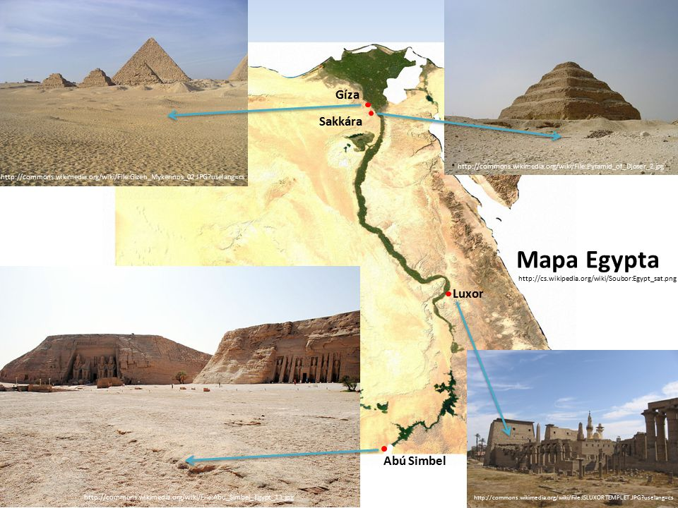 Mapa Egypta Gíza Sakkára Luxor Abú Simbel