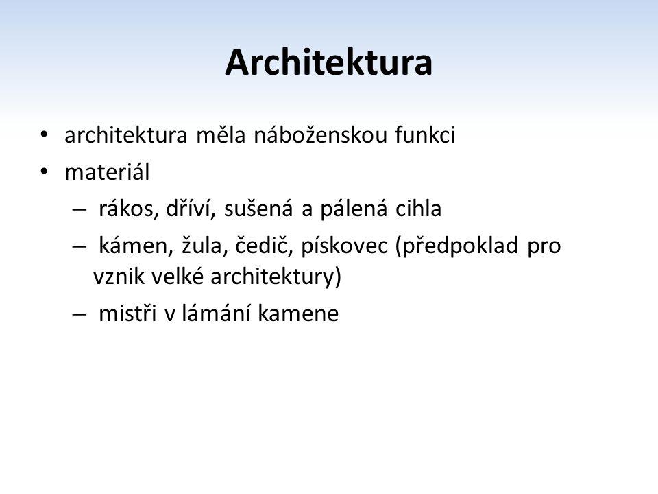 Architektura architektura měla náboženskou funkci materiál