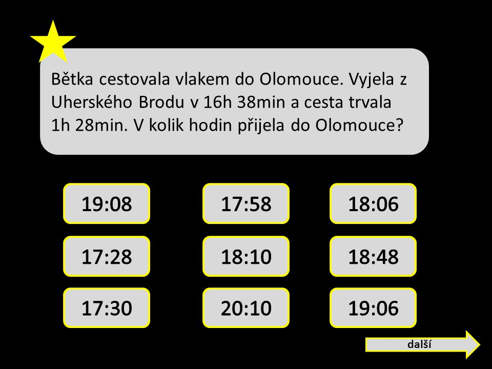 Bětka cestovala vlakem do Olomouce