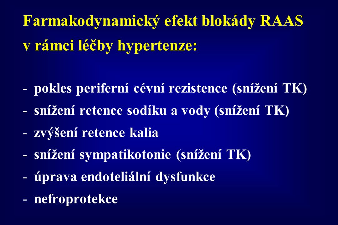 Farmakodynamický efekt blokády RAAS v rámci léčby hypertenze: