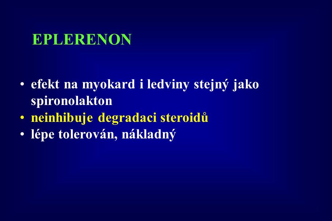EPLERENON efekt na myokard i ledviny stejný jako spironolakton