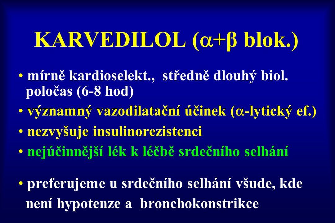KARVEDILOL (+β blok.) mírně kardioselekt., středně dlouhý biol.