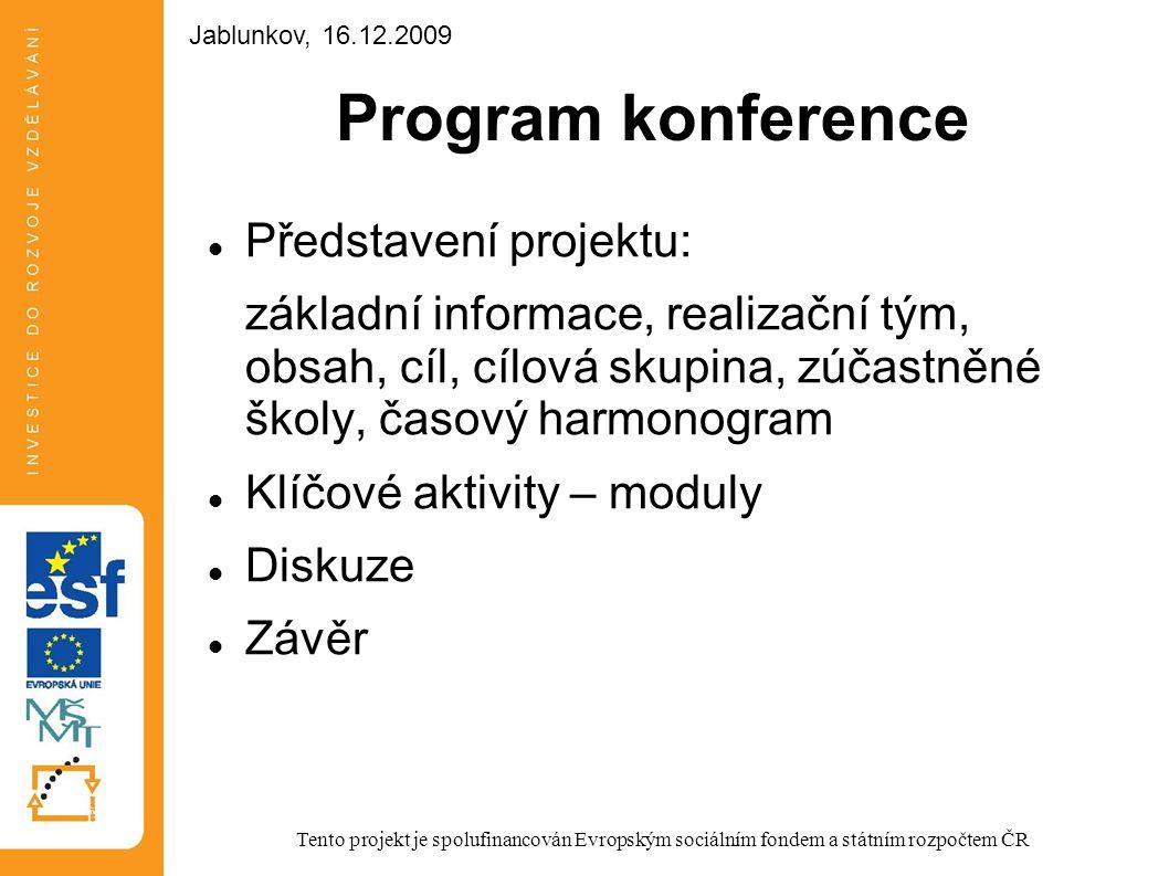 Program konference Představení projektu: