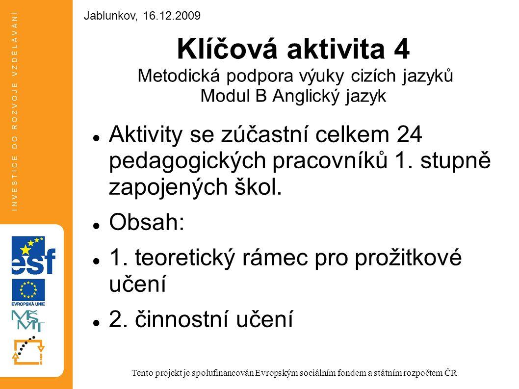 Jablunkov, 16.12.2009 Jablunkov, 16.12.2009. Klíčová aktivita 4 Metodická podpora výuky cizích jazyků Modul B Anglický jazyk.