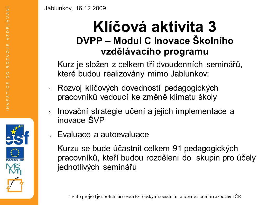 Jablunkov, 16.12.2009 Jablunkov, 16.12.2009. Klíčová aktivita 3 DVPP – Modul C Inovace Školního vzdělávacího programu.