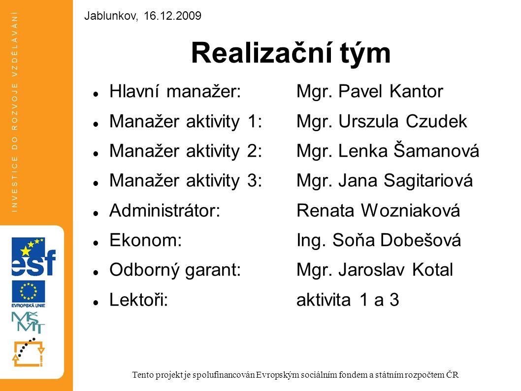 Realizační tým Hlavní manažer: Mgr. Pavel Kantor