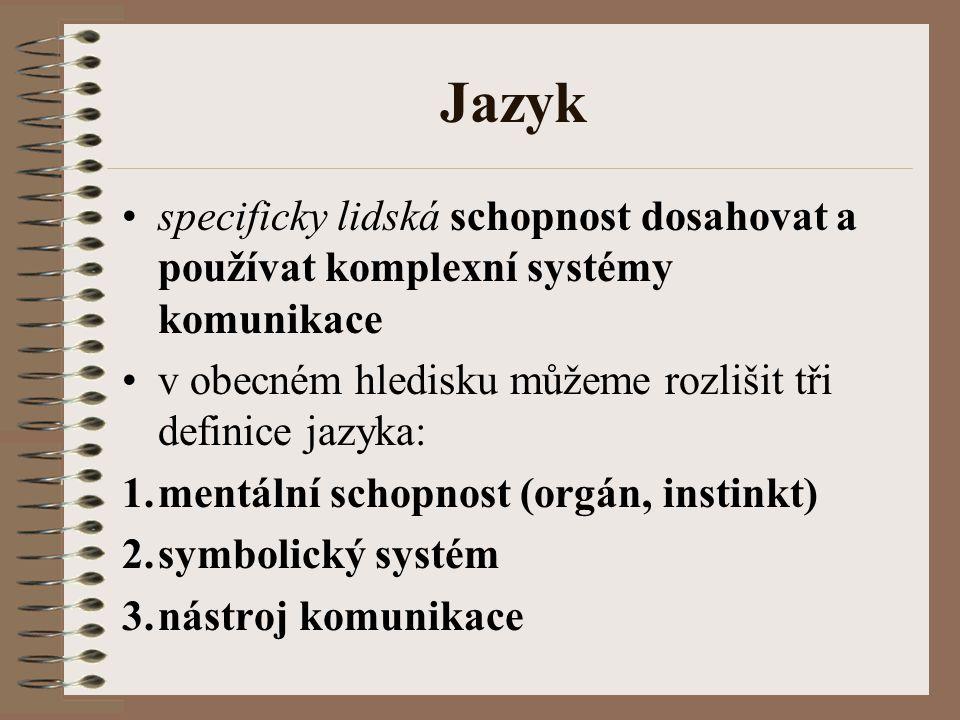 Jazyk specificky lidská schopnost dosahovat a používat komplexní systémy komunikace. v obecném hledisku můžeme rozlišit tři definice jazyka: