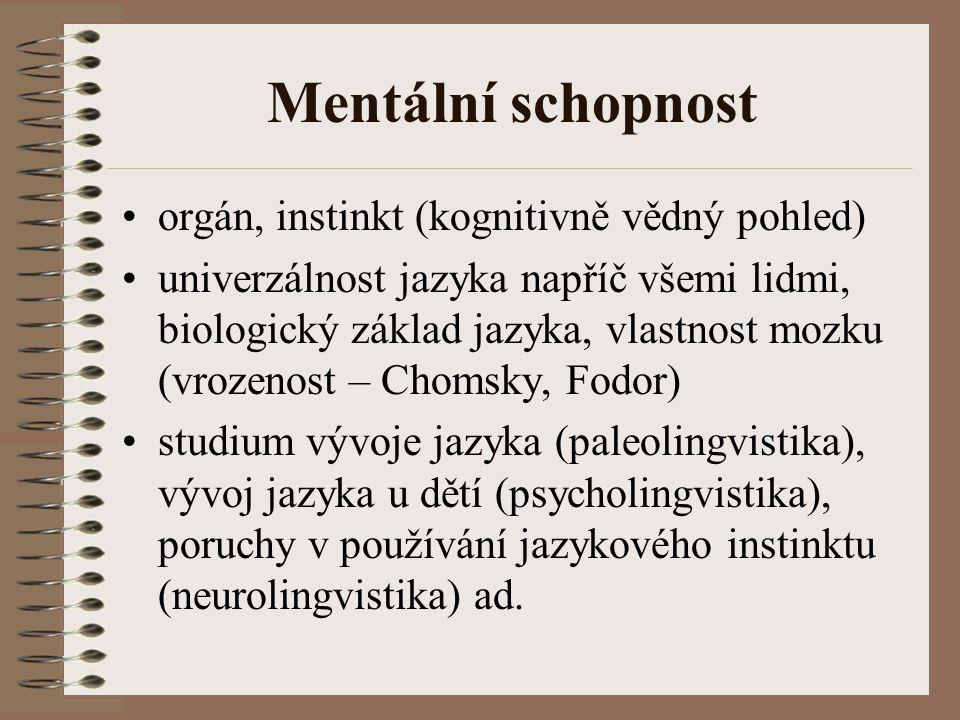 Mentální schopnost orgán, instinkt (kognitivně vědný pohled)