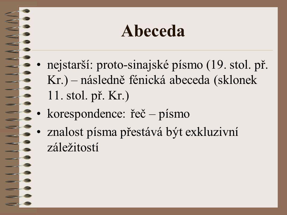 Abeceda nejstarší: proto-sinajské písmo (19. stol. př. Kr.) – následně fénická abeceda (sklonek 11. stol. př. Kr.)