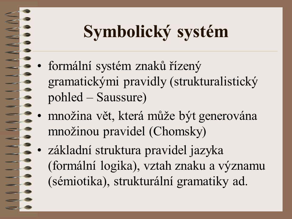 Symbolický systém formální systém znaků řízený gramatickými pravidly (strukturalistický pohled – Saussure)
