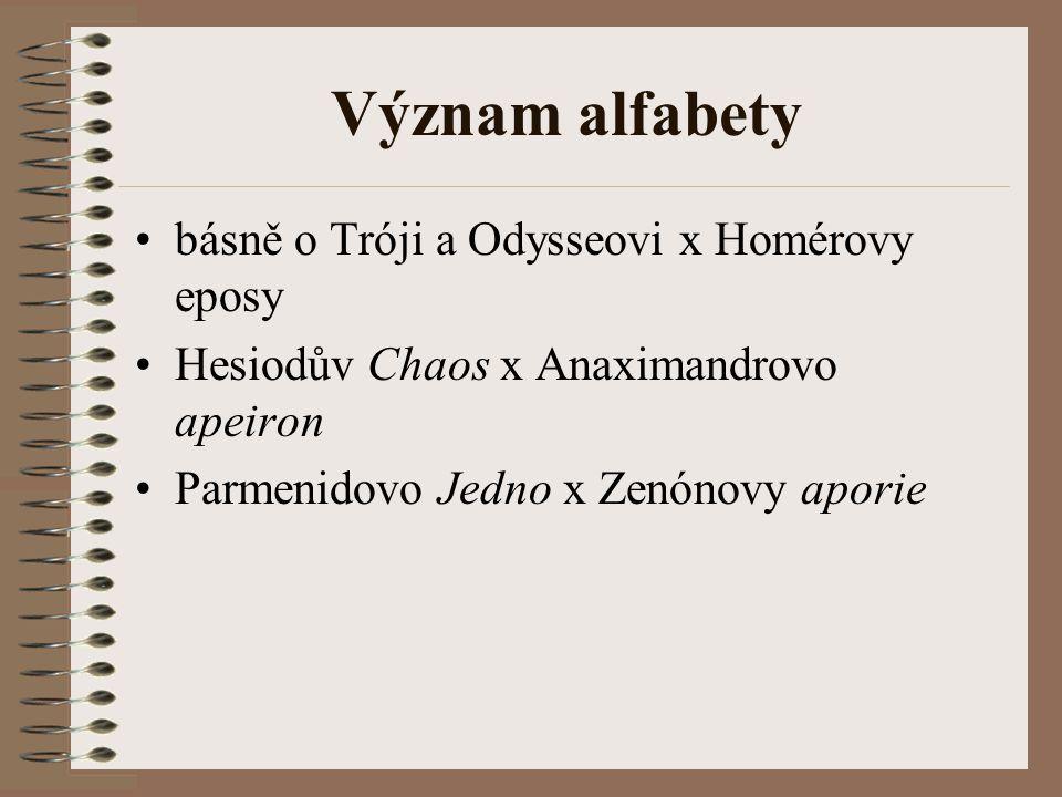 Význam alfabety básně o Tróji a Odysseovi x Homérovy eposy