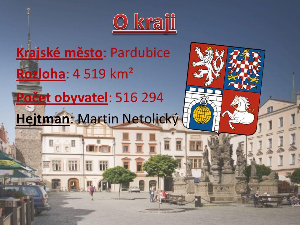 O kraji Krajské město: Pardubice Rozloha: 4 519 km²