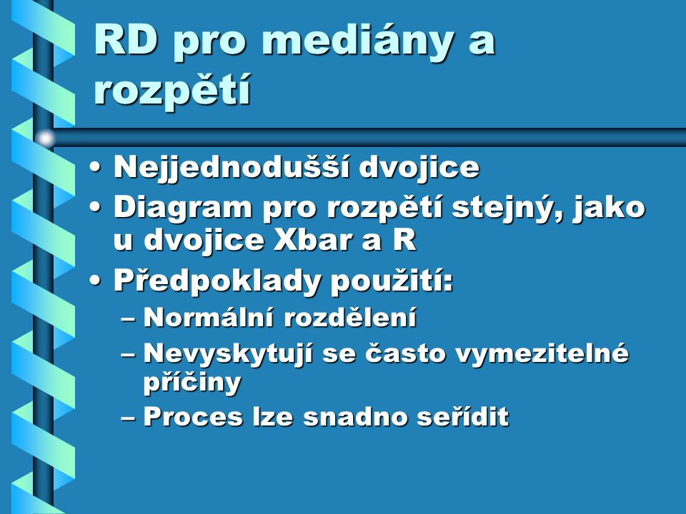RD pro mediány a rozpětí