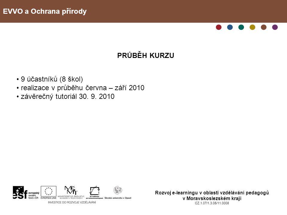 realizace v průběhu června – září 2010 závěrečný tutoriál 30. 9. 2010