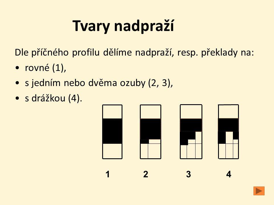 Tvary nadpraží Dle příčného profilu dělíme nadpraží, resp. překlady na: • rovné (1), • s jedním nebo dvěma ozuby (2, 3),