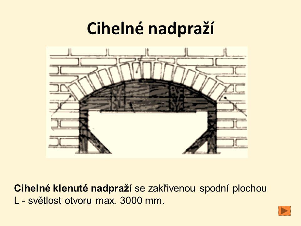 Cihelné nadpraží Cihelné klenuté nadpraží se zakřivenou spodní plochou