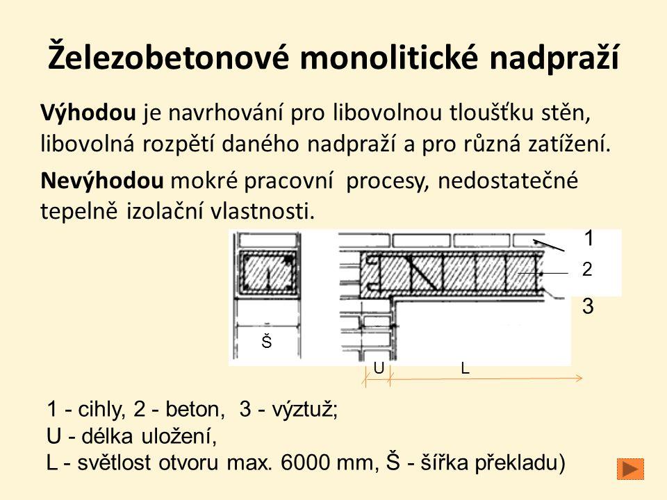 Železobetonové monolitické nadpraží