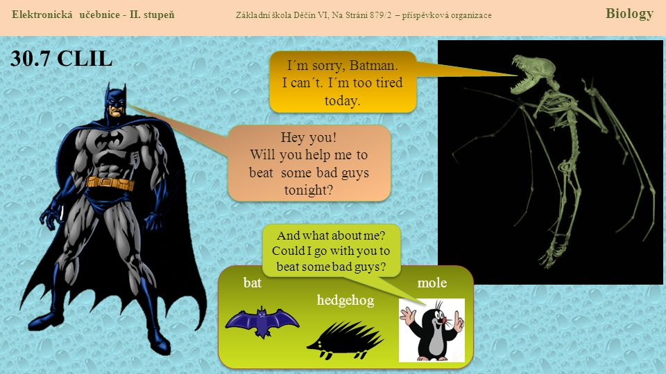 30.7 CLIL I´m sorry, Batman. I can´t. I´m too tired today. Hey you!